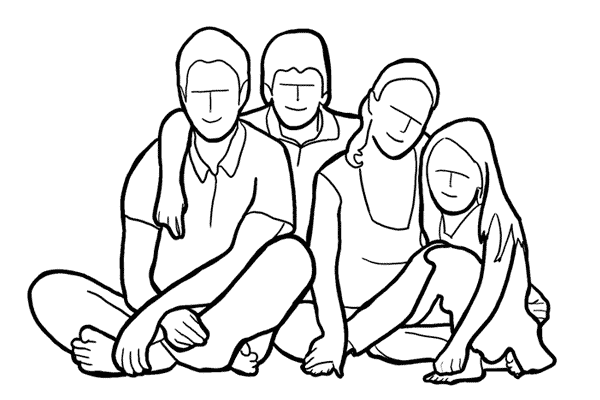 family sitting together on the lawn