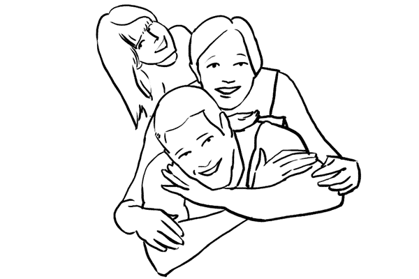 family piling on top of each other lying down