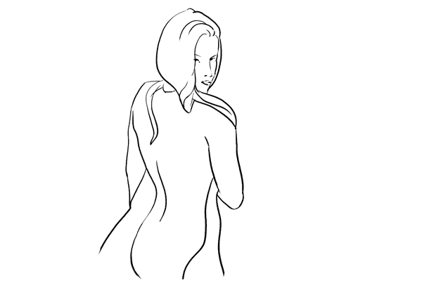 nude pose with sheet