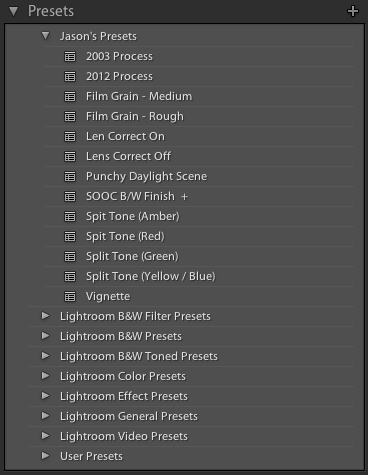 screenshot showing Lightroom Develop Presets