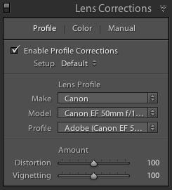 screenshot showing Lightroom Lens Corrections Settings