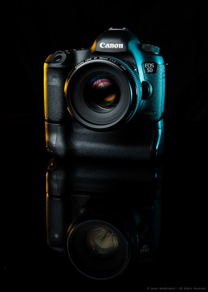 Photo of a Canon EOS 5D MkIII on a black background