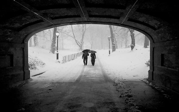 Couple in Snowstorm
