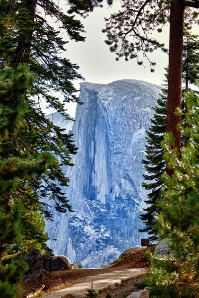 Image: In this image of Half Dome, foreground trees are used to set apart Half Dome and make it stan...