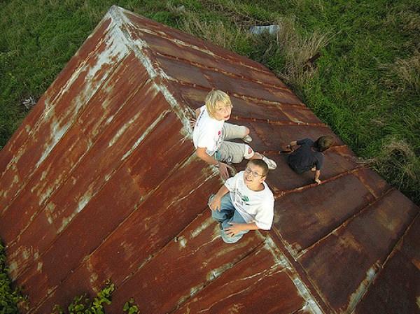 boys on the barn