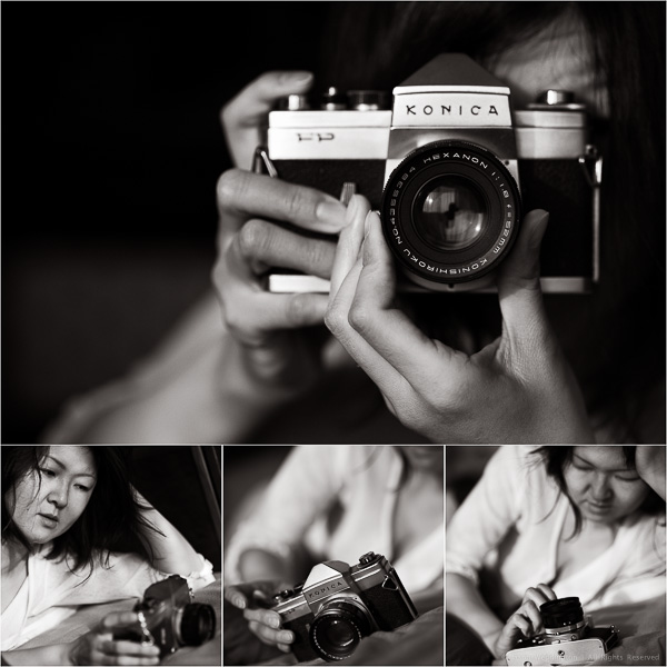 Woman playing with a classic Konica