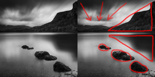 Here I've outlined the major components that contribute to the composition of this image, namely the three stones leading in from the foregound, the two blocks of dark tone acting as triangles drawing in from the right, and the movement in the clouds leading the eye in from the top of the image