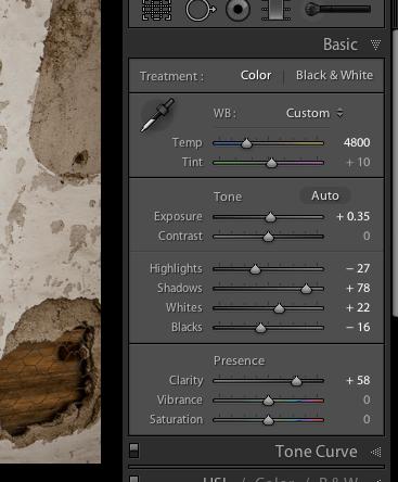Basic panel adjustments in LR