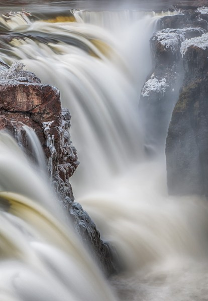 Great Falls in Paterson, NJ. Photographing these falls in late winter, I was able to capture frost forming on the rocks from the spray.  Exposure was 2 seconds, ISO 100, at f/22. EF 24-105 f/4L IS, with EOS-1D Mark III.