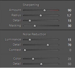 sharpening settings