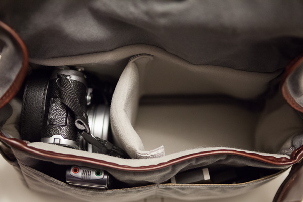 Ona Bowery Camera Bag Review, Interior Shot