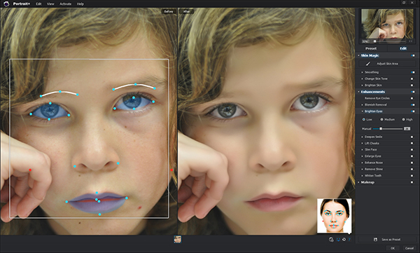 The overlay on the left shows the facial features automatically detected by the software.