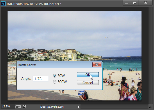 Choose Rotate Canvas to rotate the canvas to the selected angle.