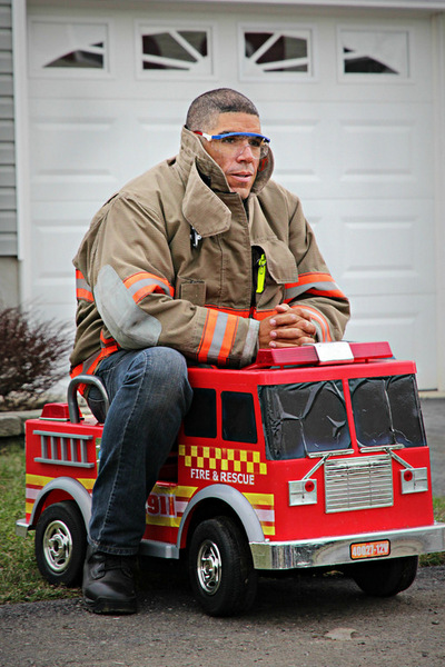 Fire Chief On Truck