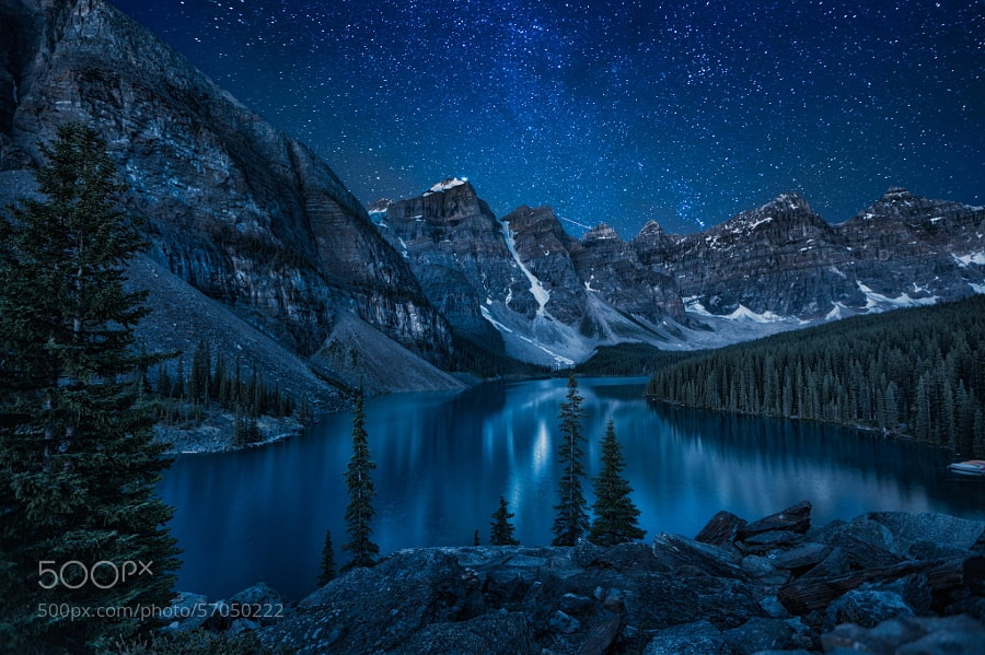 Photograph Moraine Lake at night by Andrey Popov on 500px