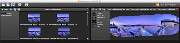 Autopano Pro - Images selected for the pano stitch on the left and a preview of the stitched image on the right