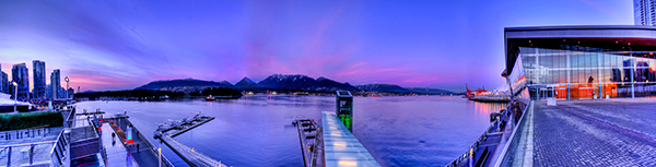 Panoramic HDR image of Coal Harbour - Vancouver BC