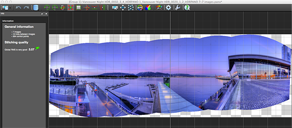 Autopano edit screen with preview of stitched image