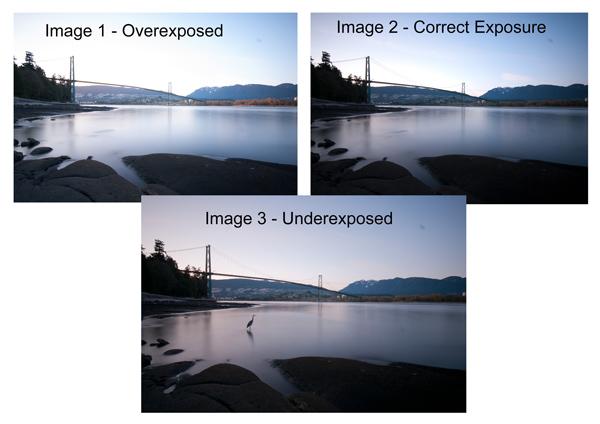 3 Diferentes exposiciones de la imagen HDR anteriores