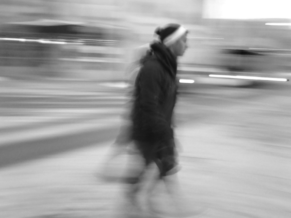 intentional camera movement, ICM, panning, people, motion, blur, blackandwhite