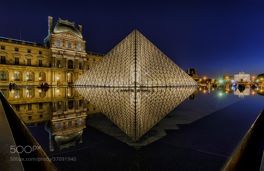 Photograph Louvre Pyramid by Night by Csilla Zelko on 500px