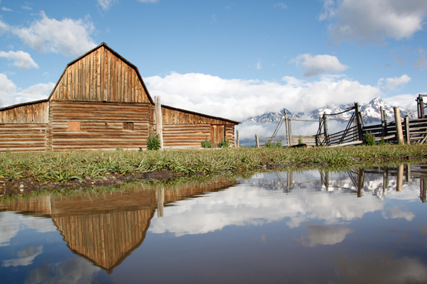 Grand Teton National Park, Tetons, Mormon Row, mountains, landscape, barn, reflection, puddle