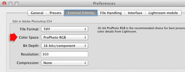 Lightroom and colour space