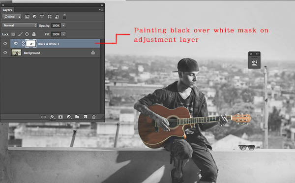 Painting with black on mask