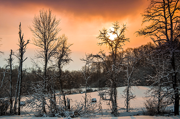 Winter sunset after a snow storm.