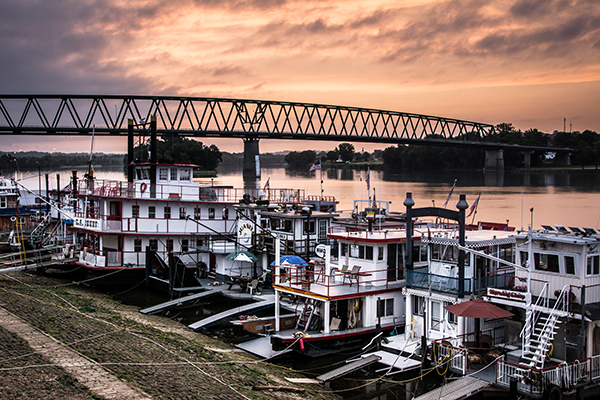 Sunrise at the Ohio River Sternwheel Festival gives a colorful view of the event before the crowds arrive.