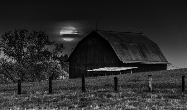 shooting the moon over a barn