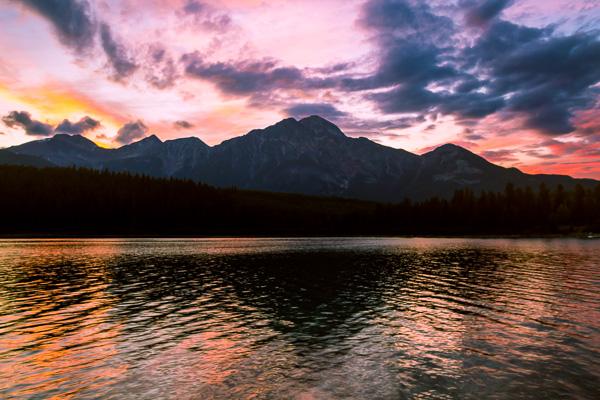 Golden Hour in Pyramid Mountain  Jasper National Park  Alberta  Canada