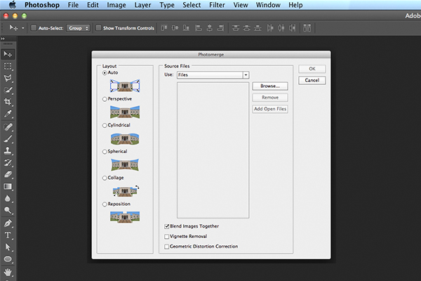 Photomerge dialog box in Photoshop CS6