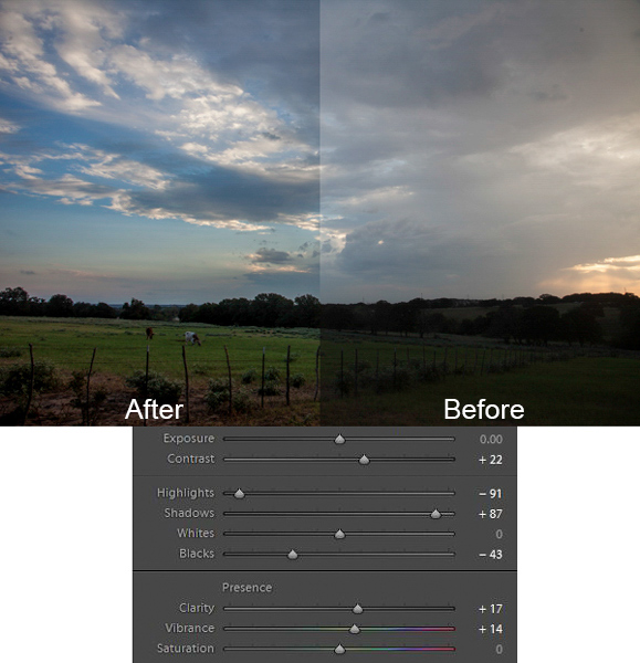 Texas field photo with Lightroom adjustments