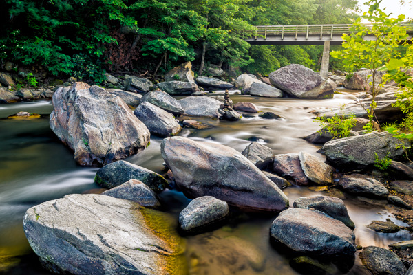 I used a my Formatt-Hitech 105mm circular polarizer here to remove glare from the rocks and water. The images without the filter were virtually unusable.