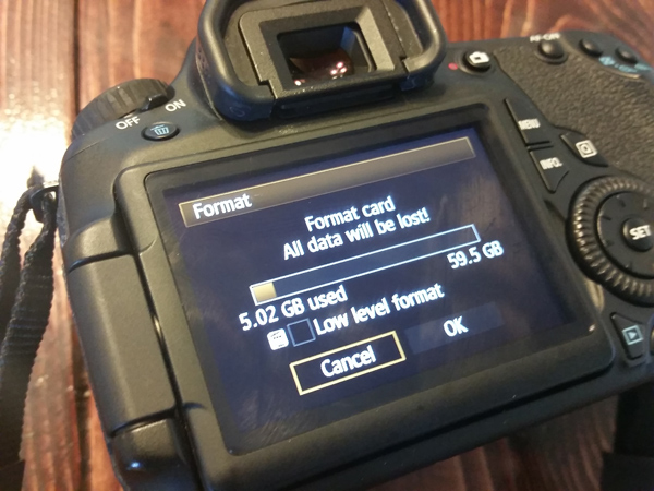 formatting memory cards in-camera is the best way to delete photos from your memory cards