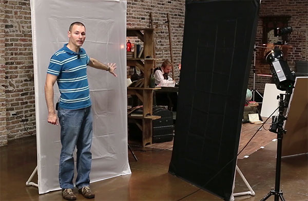 Wide shot of two light panels