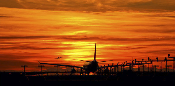 Warm sunset colours over the Vancouver runway