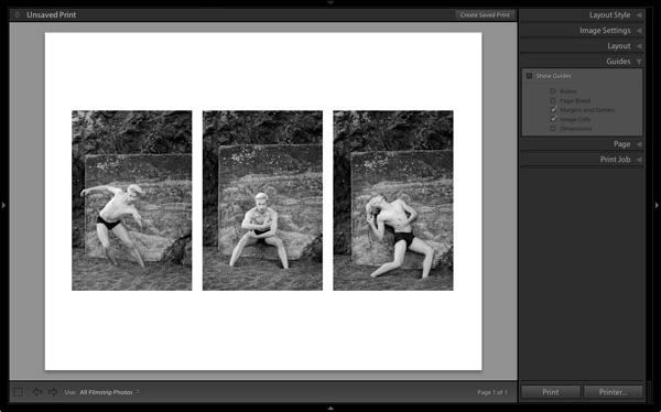 Lightroom print module triptych