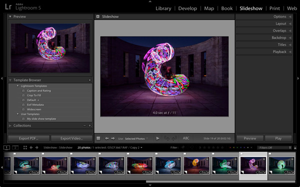 Slideshow module Lightroom