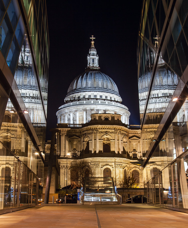 Great Subjects for Urban Night Photography - St. Paul reflection example