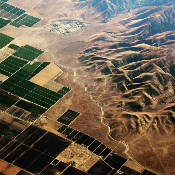 High above California's Central Valley, USA