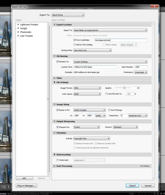 Exporting the images.