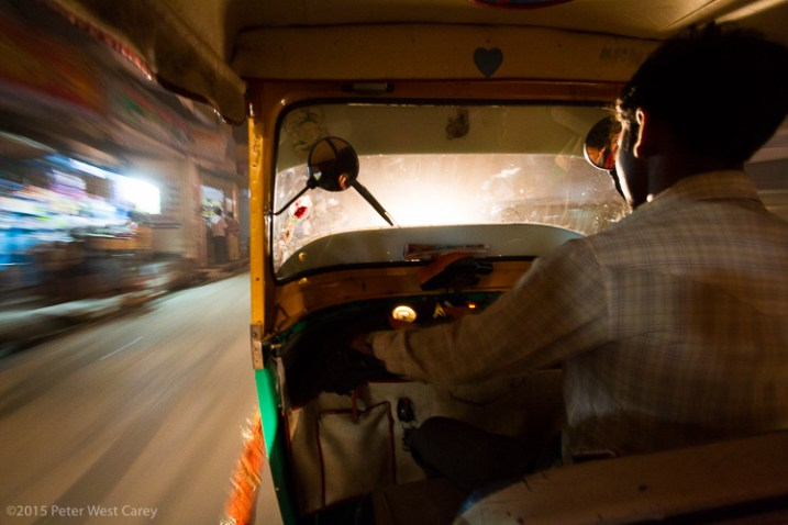 Speeding through the night streets of Varanasi, India