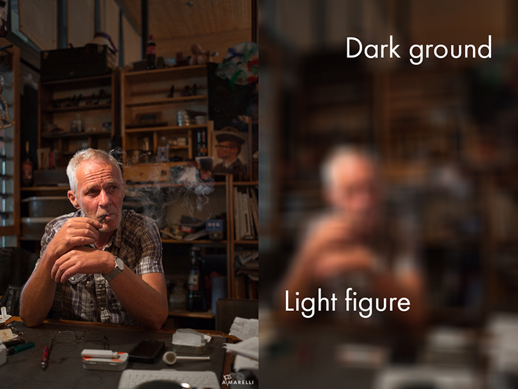 3 Light figure on dark ground