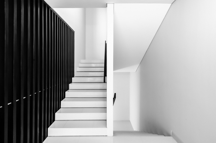 A black and white architectural photo