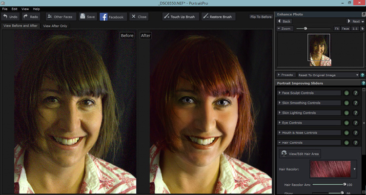 The sliders can also smooth, lighten,add shine to hair.