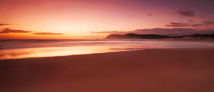 landscape sunset mountains and beach