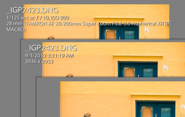 The three states of the Lightroom Loupe Info Overlay