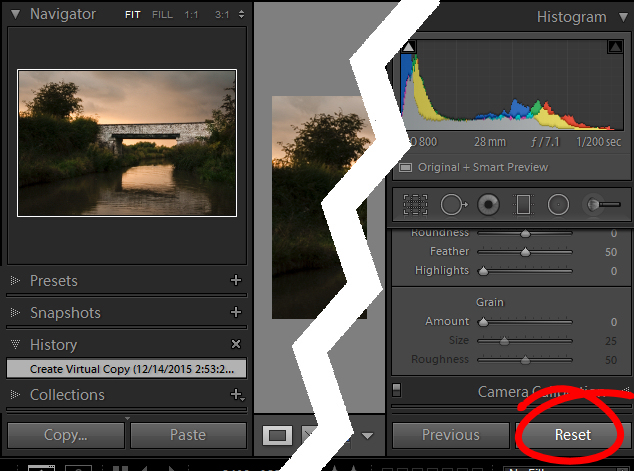 reset a virtual copy to the original image state in Lightroom